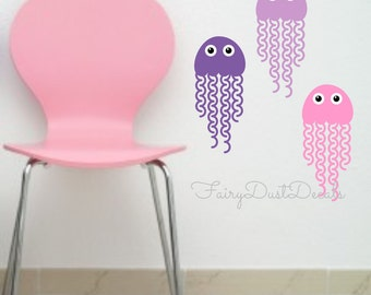 Jellyfish Wall Decal Set of 5 Jelly Fish Vinyl Stickers for Nursery Bedroom Office or Home