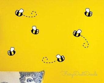 Bumblebee Wall Decal - Bee rub on decoration - Bumble bee wall decals Set of 16 - vinyl wall sticker - bee vinyl decals for walls