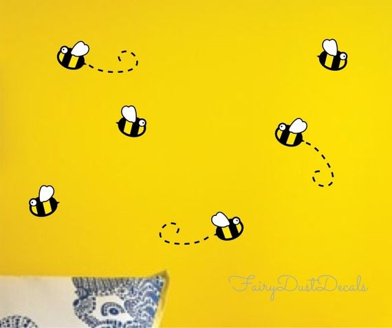Bumblebee wall decal bee rub on decoration bumble bee wall for Bumble bee mural