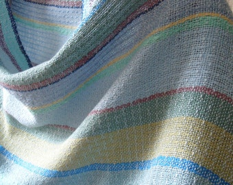 Handwoven Shawl, Woven Scarf, Wrap, Seascape