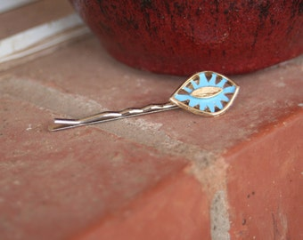 H51 Vintage Gold Turquoise Enamel Upcycled Hair Pin