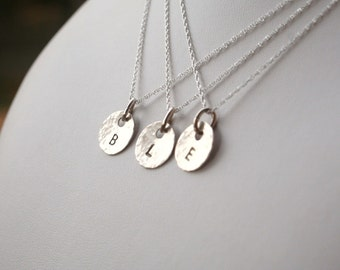 Sterling Silver Hammered Textured Small Initial Disc Necklace ONE DISC BRIDESMAID Jewelry