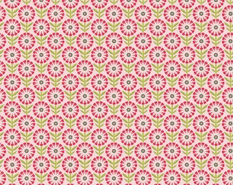 FALL SALE - So Happy Together - 1 yard - FLANNEL - Flower in Pink - Sku F3232 - by Deena Rutter for Riley Blake Designs