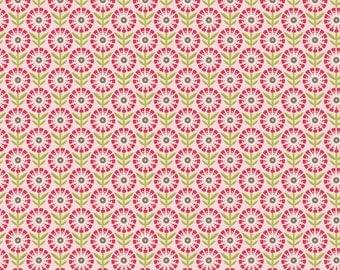 SUMMER SALE - So Happy Together - 1 yard - FLANNEL - Flower in Pink - Sku F3232 - by Deena Rutter for Riley Blake Designs