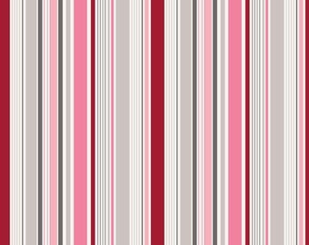 SPRING SALE - 1 1/2 yards - Remember - Stripe in Red - Sku C3215 - Carina Gardner for Riley Blake Designs