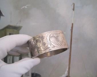 Vintage Sterling Silver Hinged Bangle Bracelet Etched Engraved Extra Wide