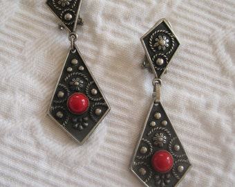 Vintage Earrings Etruscan Revival Style Silver Coral Made in Italy Dangle Drop