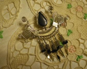 Vintage Silver Brooch with Black Looks Like Onyx Stones