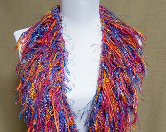 Fringe Binge Scarf Necklace in Mauve, Pink, Gold, Orange, Blue, Purple Ready to Ship Infinity Scarf Knotted Scarf Circle Scarf Multicolor