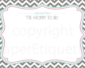 instant upload baby shower game advice cards for the mom to be turquoise baby shower