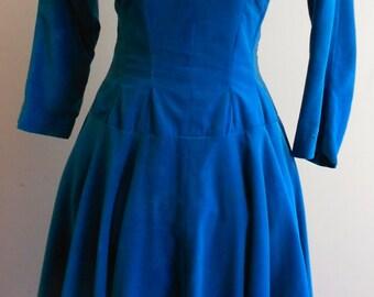 "1950's, 34"" bust, electric turquoise blue velveteen dress"