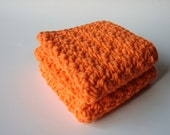 Crochet Washcloths Hot Orange Eco Friendly Cotton Face Scrubbies - Set of 2 - MADE TO ORDER