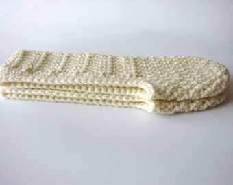 Ivory Crochet Slippers for Women, MADE TO ORDER