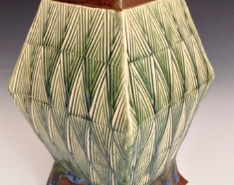 Ceramic vase, hand built, arts and crafts style, green and browns