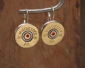 Shotgun Casing Jewelry - Winchester 20 Gauge Silver Leverback Earrings - Great Size - Most Popular Gauge