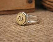 Bullet Jewelry - Sterling Silver Split Shank Brass 9mm Bullet Casing Ring - Bullet Ring for Her
