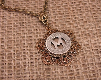 Token Jewelry - Authentic Midwest Transit Lines Antique Brass Hex Filigree Pendant Necklace - Initial M