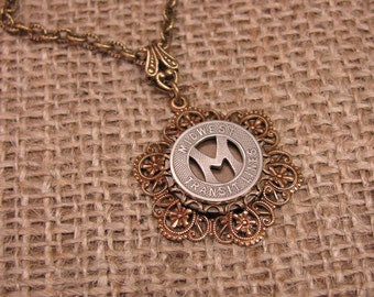 Token Jewelry - Coin Jewelry - Authentic Midwest Transit Lines Token Necklace - Antique Hex Filigree Pendant Brass Necklace - Initial M