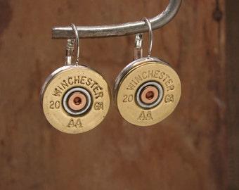 Shotgun Casing Jewelry - Winchester 20 Gauge Silver Leverback Earrings - Great Size - Most Popular Gauge