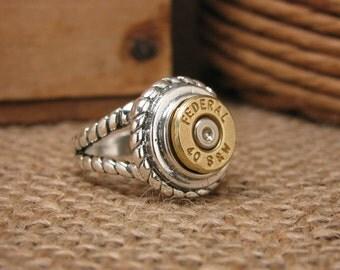 Bullet Jewelry - Sterling Rope Embellished Split Shank Bullet Casing Ring - Bullet Bling - Western Style