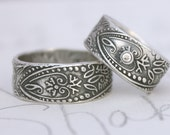 bohemian wedding band ring set with white sapphire . wide engraved paisley wedding rings mens womens . recycled silver by peaces of indigo