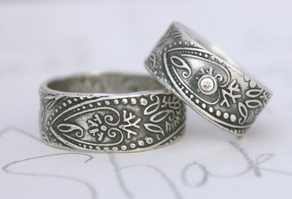 items similar to bohemian wedding band ring set with white sapphire wide engraved paisley wedding rings mens womens recycled silver by peaces of indigo - Hippie Wedding Rings