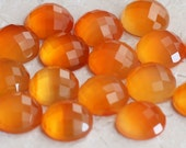 ONE 10mm Round Checkerboard Faceted Cut Carnelian Cabochon Lovely Orange