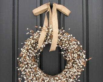 Shabby Chic Wreath - Cream Berry Wreath - Spring Wreath - Year Round Door Decor - Front Porch Decor - Farmhouse Wreath - Farmhouse Decor