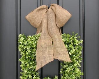 Wreaths - Boxwood Wreath - Square Wreath - Spring Decor - Burlap Ribbon - Year Round Wreath