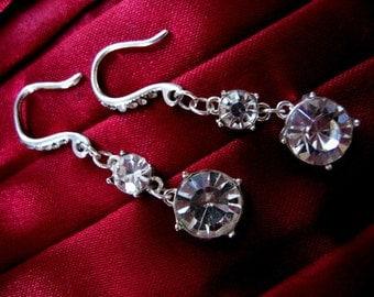 BRIDAL CLEAR GLASS Drop Earrings for Pierced Ears Crystal Look