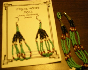 Native American Beaded Earrings & Bracelet Set