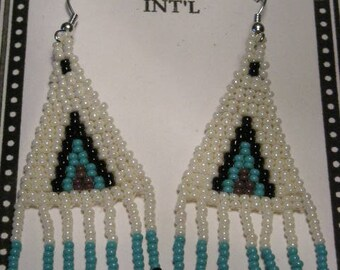Turquoise, White, Black Beaded Earrings
