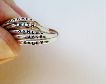 Tiny Quintuple (5) Interlocking Personalized Ring - Tiny Ring, Russian Wedding Ring, Mother's Ring, Overlapping Ring, Resolution Ring