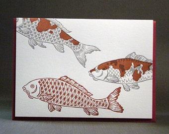Letterpress Red Koi Card