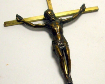 Large Brass Metal Wall Crucifix, Religious Christian Catholic Decor, 1980s, Hang On the Wall, 10 inches Tall