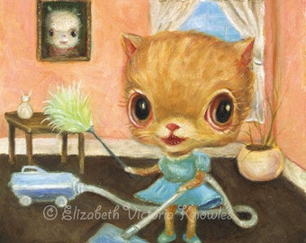 Sweet Big Eye Dressed Cat Vacuuming & Doing Housework, Retro Art, Lowbrow, Pink, KNOWLES, Print size options available