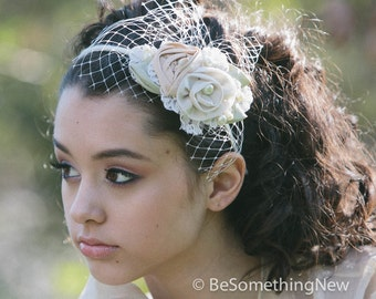 wedding headband of fabric roses and lace,  wedding hair bridal headband