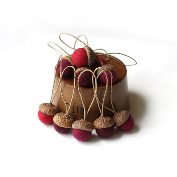 Felted Acorns Ornaments  - set of 10 in festive reds