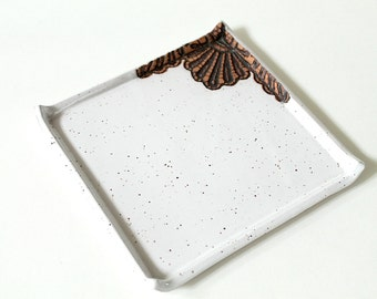 Handmade Moroccan Lace Square Saucer, Dessert or Appetizer Plate in White