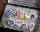 10 Small Sea Beach Pottery Sterling Silver Charms Jewelry Supplies Gift (511)