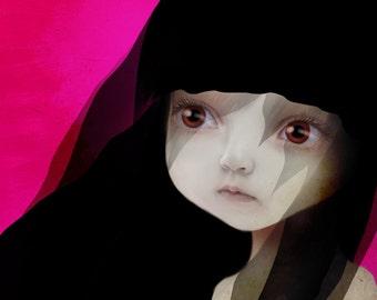"5x7 Fine Art Print - ""Lisbeth"" - Little Sad eyed girl - Lowbrow Art by Jessica Grundy"