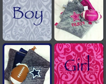 Custom listing 2 Dallas Cowboy's Baby Blankets and Rattle Football Toys