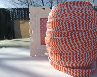"5 Yards of 5/8"" Chevron Printed Fold Over Elastics FOE - Orange and White"