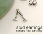 Achromic rod stud earrings, bar stud earrings,  men's stud earrings, cartilage earring, helix stud earring, tiny line stud earrings, 464W