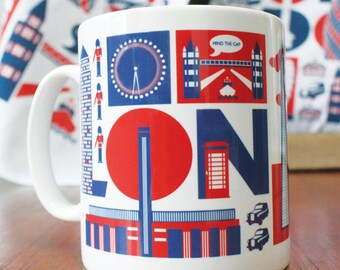 London typographic mug
