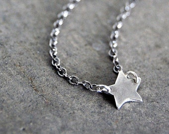 Teeny Tiny Rustic Star Tag Necklace - Personalized Initial with One Star
