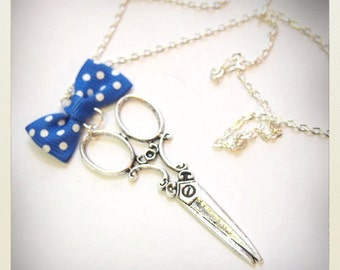 Pin up style Retro Vintage scissors necklace with blue bow