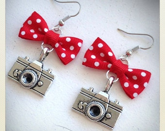 Old School Vintage retro style Pin Up camera earrings, red bow