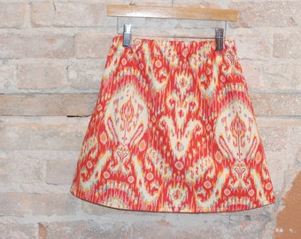 LAST ONE Size 5 Girls Red a-line Ikat Print Cotton Fabric - girls clothing -