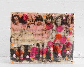 Bestfriends BFF Original Encaustic Mixed Media Painting Best Friends Forever Vintage Photo Collage Painting Pink & Orange